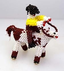 Handmade Zuni Beaded Horse with Man