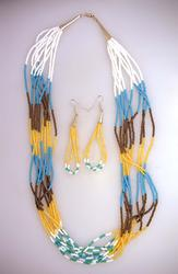 Amazing Navajo Crafted Beaded Necklace & Earrings