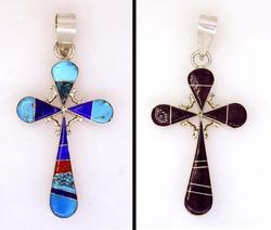 Reversible Turuqoise Inlay Cross