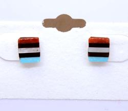 Zuni Crafted Multi-Colored Stones Inlaid Earrings