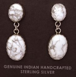 Howlite Sterling Dangle Earrings, Navajo Crafted