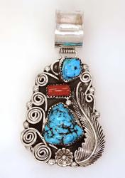 Turquoise & Coral Sterling Pendant, Navajo Crafted