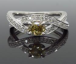 14K White Gold Colored Diamond Ring