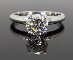 GIA Certified Platinum .93CT Solitaire Engagement Ring