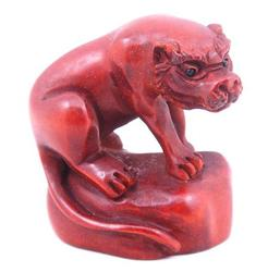 Hand Carved Boxwood Furious Tiger on Rock Japanese Netsuke