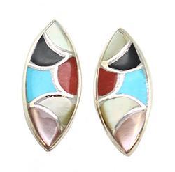 Fancy Inlay Sterling Silver Earrings