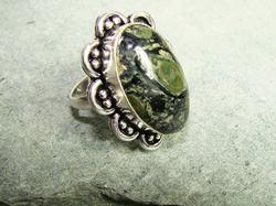 Amazing Large Natural Stone Ethnic Handcrafted Ring