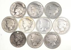 Lot (10) 1921 Peace Silver Dollars