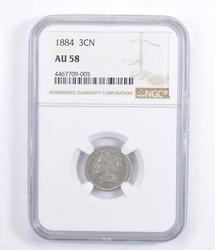 AU58 1884 Nickel Three-Cent Piece - Graded NGC