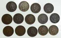 Lot (14) 1908-S Indian Head Cents