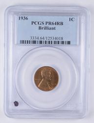 PR64 RB 1936 Lincoln Wheat Cent - Brilliant - Graded PCGS
