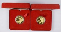 Lot (2) 1988 China Gold 100 Yuan Golden Monkeys - With Box & Paper