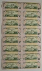 Sheet Of 16 2006 $50 Federal Reserve Notes - Uncut Sheet Of Notes!