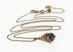 14K Chocolate Gold Chocolate Pearl Cone Pendant Cable Chain Necklace