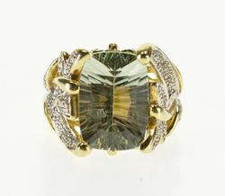 10K Yellow Gold Ornate Blue Topaz Diamond Butterfly Design Ring