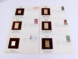 6 - 1987 1st Day Issues & 22KT Gold Stamps