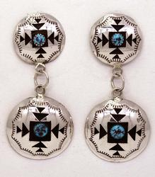 Shadowbox Turquoise Sterling Earrings, Navajo
