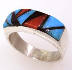 Turquoise, Coral, Jet Sterling Ring, Navajo Crafted