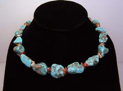 Natural Turquoise & Coral Shell Necklace