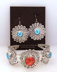 Matching Native American Cuff & Earrings with Turquoise