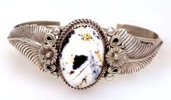 White Buffalo Sterling Cuff, Navajo Crafted