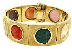 Vintage Multi Stone Cameo Bracelet