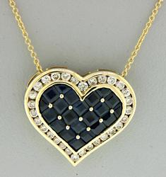Lovely Sapphire and Diamond Channel Set Necklace