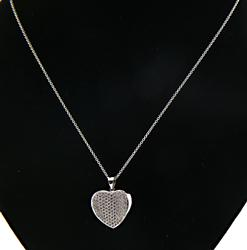 18kt Pave Heart Concave Pendant Necklace
