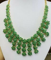 50.00 Carat Natural Emerald Cleopatra Necklace in 14kt Gold!