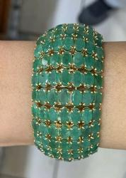 Mega 100.00+ Carat Emerald Bracelet in 14kt Solid Gold!