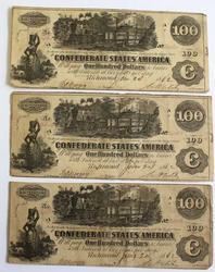 3 Consecutive $100 Confederate States of America Jan 24 1862