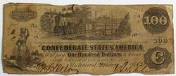 $100 Confederate States of America May 9  1862 Note