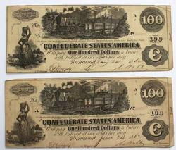 2 Near Consecutive $100 Confederate States of America June 1862