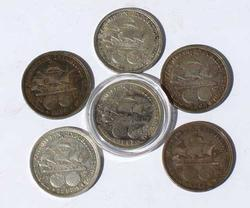 Lot of  6 Assorted Columbian Expo Commemerotive Silver Halfs