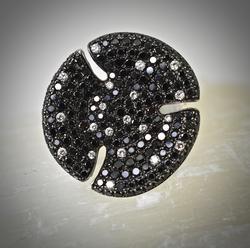 Dramatic 18K Black and White Diamond Ring