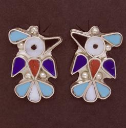 Thunderbird Inlay Dangle Earrings, Zuni