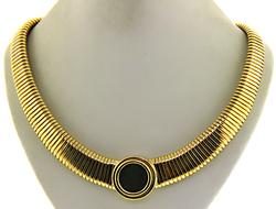 18kt Valentinian Coin Ribbed Necklace