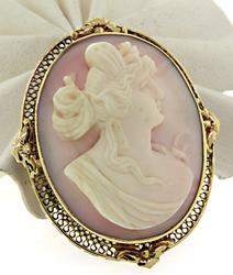 Coral Carved Cameo Brooch