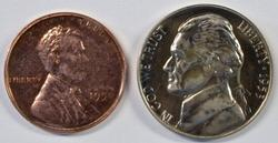 1950 Proof Lincoln Cent & 1953 Gem Proof Jeff Nickel