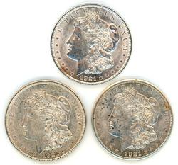Nice 1921 P-D-S Morgan Silver Dollars. Last year issues