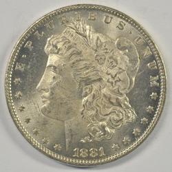 Frosty-white BU 1881-O Morgan Silver Dollar