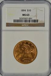 Choice BU 1894 $10 Liberty Gold Piece. NGC MS63