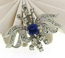 Vintage Diamond and Tanzanite Brooch