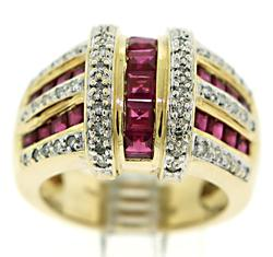 Ruby and Diamond Wide Band Ring