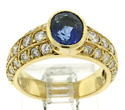 18kt Blue Sapphire and Diamond Ring