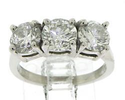 Platinum 2.75cts Three Prong Set Diamond Rings