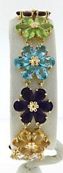 Flashy Multi Gemstone Flower Bracelet