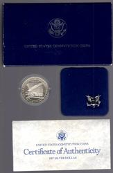 1987 Constitution BU Commem Silver Dollar Box/CoA