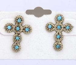Zuni Turquoise Cross Post Earrings, New