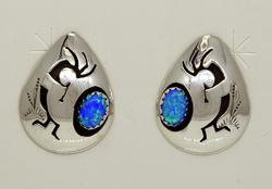 Native American Blue Opal Post Earrings, New